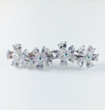 USA BARRETTE use Swarovski Crystal Hair Clip Hairpin Elegant Bridal Silver C29