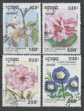 "No: 72804 - CAMBODIA - ""FLOWERS"" - LOT OF 4 OLD STAMPS - USED!!"
