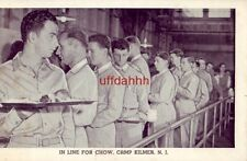 IN LINE FOR CHOW CAMP KILMER, NJ soldiers in mess hall U.S. Army Post Card