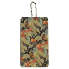 Fruits Leaves and Vines Pattern Wood Luggage Card Suitcase Carry-On ID Tag