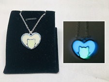 CAT Silhouette HEART GLOW IN THE DARK Silver Charm Pendant Necklace Pet Love