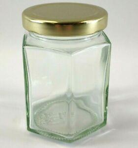 190ml Jam Jars 12 - 24 Glass Preserve  Chutney Honey Jars Gold  Lid Hexagon