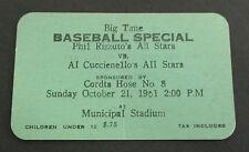 1951 Baseball Ticket, Phil Rizzuto's vs Al Cuccienello's All Stars, Kingston NY