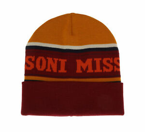 Missoni Yellow/Burgundy Warm Knit Colorblock Logo Beanie