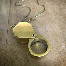 Flip-Open Jeweler's Loupe Magnifying Glass Necklace, Shiny Brass Pendant & Chain