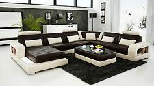 Designer Leather Sofa Corner Suite Settee Modern Contemporary Chocolate & Beige