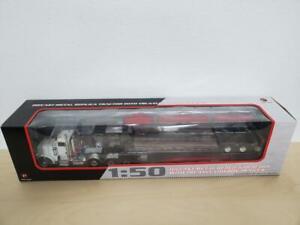 1/50 First Gear Peterbilt 367 with Talbert Lowboy White/Black 50-3349