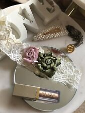 Ivory Stretch Dusky Pink Green Floral Ribbon Bridal Garter Med/Large Horseshoe