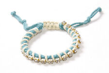 Small Shiny Diamante Beads (T205) Casual Blue&Beige Plaited Bracelet w Chic
