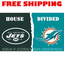 New York Jets vs Miami Dolphins House Divided Flag Banner 3x5 ft NFL 2019 NEW