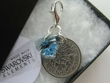 Wedding Gift for the Bride to be - Something Blue Crystal Heart & Sixpence Charm