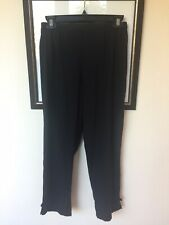 NWOT Citron Santa Monica Black Washable Silk Cropped Pants Asian Accent Sz PS