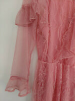 Topshop Pink Victoriana Lace Flute Sleeve Frill Dress UK 10 12 14 EU 38 40 42