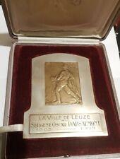 Médaille PLAQUE BRONZE ART NOUVEAU POMPIER SERGENT DABSALMONT LEUZE  MEDAL 奖章