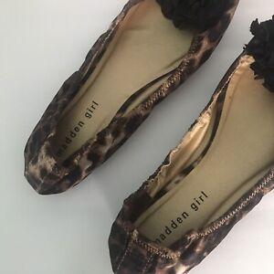 New Madden Girl Celiia Womens Leopard Peep-Toe Ballet Slip-On Flat Shoe 9M