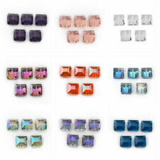 100pcs Cube Crystal Beads Square Loose Spacer Jewelry Findings AB Siam 4mm HC