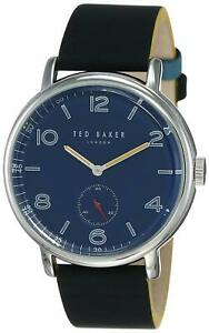 Ted Baker London Harry 40mm Navy Blue Dial Black Leather Men's Watch TE50372003