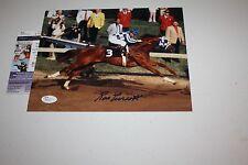 Secretariat Jockey Ron Turcotte Signed 8X10 Photo Preakness Race Pose Jsa