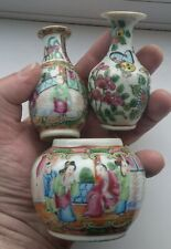 Good Lot 3 Antique Chinese Qing Canton Famille Rose Porcelain Miniature Vases.
