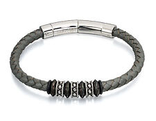 Fred Bennett Stainless Steel Grey Leather Adjustable Clasp Bracelet 22-23cm