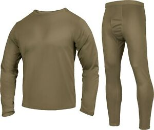 Coyote Brown Silk Weight Thermals Gen III ECWCS Underwear Shirt and Pant Set