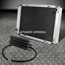 FOR 79-93 MUSTANG ALUMINUM THREE ROW/CORE RADIATOR+BLACK TRANSMISSION OIL COOLER