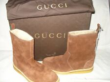100% AUTHENTIC NEW MEN GUCCI PRINCE CURL LAMB SUEDE BOOTS UK 8.5/US 9.5