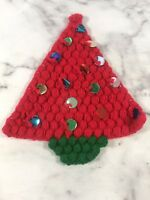 Vintage Handmade Knit Crochet Christmas Tree Decoration Sequin Red Green