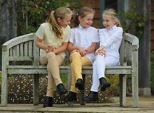 Shires Child's Short Sleeve Riding Show Showing Tie Shirt Yellow White Or Blue