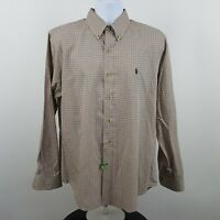 RECENT Ralph Lauren Brown Blue Check Men's L/S Casual Button Shirt Sz Large L