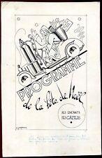 JEAN LALEURE . projet dessin original gouache.voiture à gaz. Père Noël. Gazier