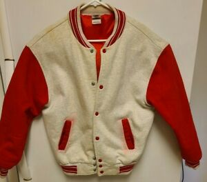 Vintage Fruit Of The Loom Red Varsity Jacket Super Cotton Ed. Mens Large