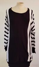 Venus Sweater Dress Sz Small Womens  White/Black Striped Knit Long Sleeve
