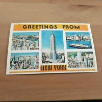 Greetings from New York NY City NYC Vintage Scenes Linen Postcard