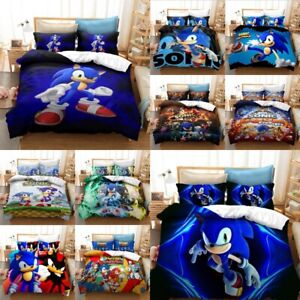 Sonic The Hedgehog Quilt Duvet Cover Bedding Set Pillow Cases Double Kids Gift