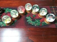 """Vintage """"Set Of 7 The First Limited Edition Disney Crystal Snow Globes..."""