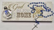 God Bless This House Wall Plaque Gift Set with Lourdes Rosary Beads & Holy Water