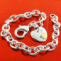 BRACELET BANGLE REAL 925 STERLING SILVER SF GOLD DOUBLE HEART CHARM CUFF DESIGN