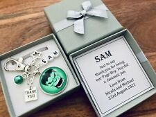 PAGE BOY, thank you WEDDING gift, HULK inspired keyring, PERSONALISED BOX