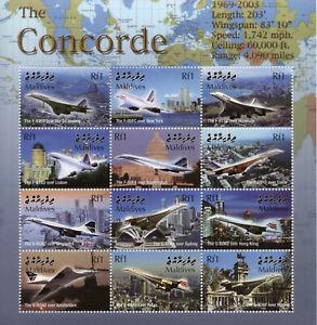 Maldives Aviation Stamps 2004 MNH Concorde Aircraft Sydney Opera House 12v M/S