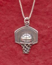 Sterling Silver Basketball Necklace Ball and hoop 925 Charm Pendant and Chain