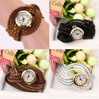 Retro Women Watch Faux Leather Analogue Quartz Wrist Watch Dress Watch Bracelet