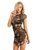 Damen Kurzarm Camouflage Mini-Kleid Sheer Mesh Transparent Schlitz Partykleid