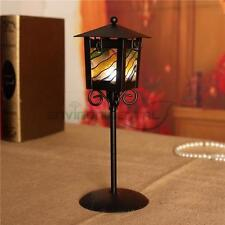Colorful Glass Black Retro Metal Vintage Candle Holder Home Table Lantern Decors