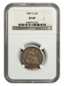 1859-S 25c NGC XF40 - Rare Issue - Liberty Seated Quarter - Rare Issue