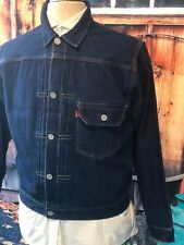 LEVIS STRAUSS BIG E SELVEDGE DENIM PLEATED FRONT  BUCKLE BACK JACKET SIZE LARGE