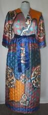 60's Vtg Funky Shiny Psychedelic Loungewear  Quilt Robe Duster Asian Edge 18