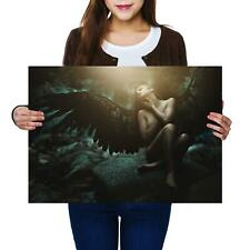 A2 | Dark Fallen Angel Woman Wings - Size A2 Poster Print Photo Art Gift #14099