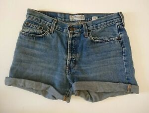 Abercrombie & Fitch Blue Cut Off Button Front Shorts UK 12