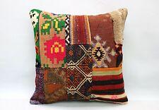 Patchwork Kilim Pillow, 20x20 in, Decorative Cushion, Handmade Vintage Pillow